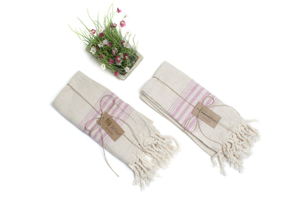 Set of 4 Linen Premium Quality Tea Towel with Stripes, Natural in Color, Eco-friendly Dish Towel, Hand-loomed Dish Clothes Set, Hand Towel Set, FREE SHIPPING! - AHENQUE