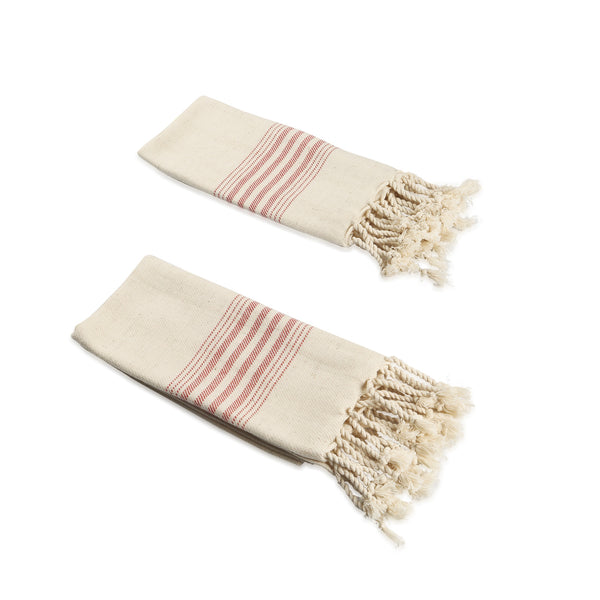 Set of 2 Linen Premium Quality Tea Towel with Stripes, Natural in Color, Eco-friendly Dish Towel, Hand-loomed Dish Clothes Set, Hand Towel Set - AHENQUE