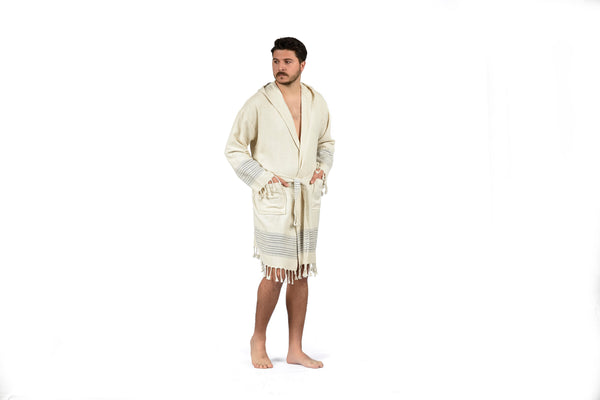 Off-White Linen Bathrobe with Hood, Hand-Loomed, Eco-friendly Turkish Bathrobe, Natural Look Linen Bathrobe striped