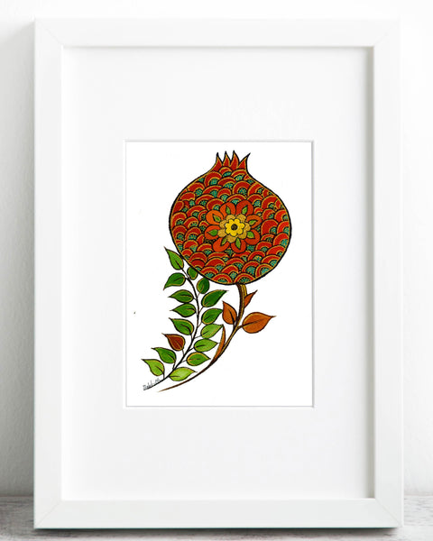 "Set of 2, Pomegranate Art Print, Red Flower Shaped Fruit Poster,Symbol of Abundance and Fertility,Print Size-A4 Size: 8.3"" × 11.7"" (21 cm x 29.7 cm) - AHENQUE"