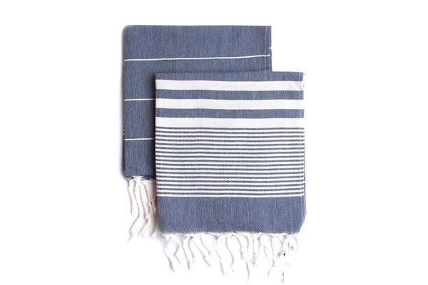 Set of 2, Handloomed Peshkir/Tea Towel/Dish Towel, Navy - AHENQUE