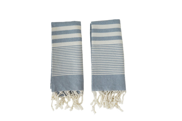 Set of 2, Hand-Loomed Peshkir/Tea Towel, Medium Grey - AHENQUE