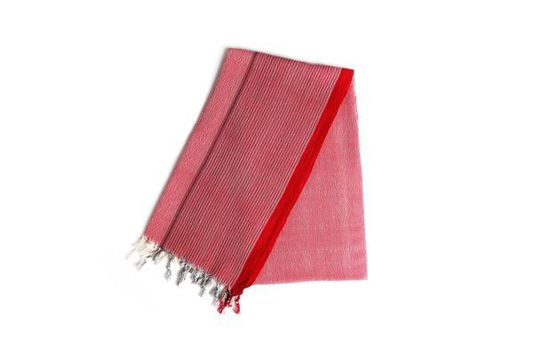 Handloomed Turkish Bath Towel, Peshtemal/Bath Towel/Shawl/Beach Towel with Fringe(Coral Red) - AHENQUE