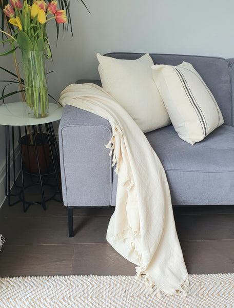 Cotton Solid Pattern Cream Throw Blanket With Fringe