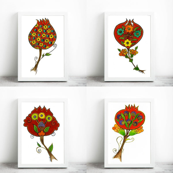 Set of 4, 4 Different Pomegranate Illustration , Art Print, Symbol of Abundance and Fertility,Print Size-A4 Size - AHENQUE