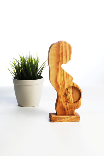 Ahenque Hand-Crafted Olive Wood Pregnant Woman Statue with  Small Frame , Wooden Pregnant Woman Sculpture Figure with Small Frame at Belly, Best Gift Ideas for Pregnant Gift, Baby Shower Gift, Newborn Baby Gift - AHENQUE