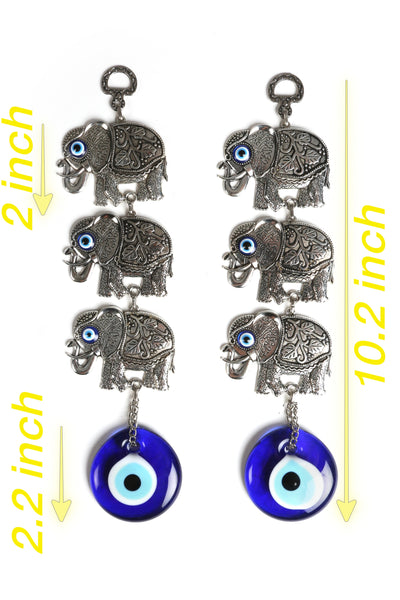 2 Piece Identical Round Evil Eye Glass Wall Hanging with Metal Triple Figure, Turkish Glass Nazar Charm, Lucky Eye Wall Hanging Amulet, Hanging Decoration Ornament , Gift for House Warming, Newborn Baby, Office Gift - AHENQUE