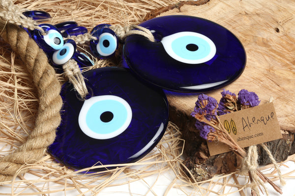 Large Size (D: 5.1 inch) Round Glass Turkish Evil Eye Wall Hanging Decorated with 6 Mini Size Blue Glass Evil Eyes and Jute Rope, Turkish Nazar Wall Decor Amulet, Newborn Charm Gift, Housewarming Gift - AHENQUE