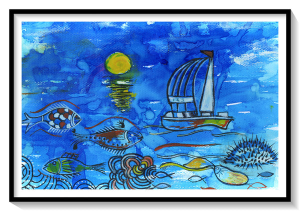 "Sea Illustration No:1, Handmade, Surreal, Art Print Size-A4 Size 8.3"" × 11.7"" (21 cm x 29.7 cm) - AHENQUE"
