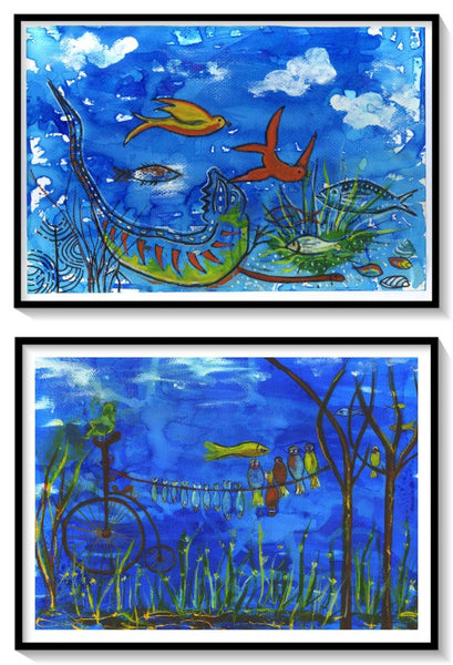Set of 2,Sea Illustration, Nautical, Surreal Art Print, A4 Size Poster - AHENQUE