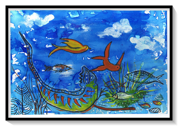 "Sea Illustration No:3, Handmade, Surreal, Art Print Size-A4 Size 8.3"" × 11.7"" (21 cm x 29.7 cm) - AHENQUE"