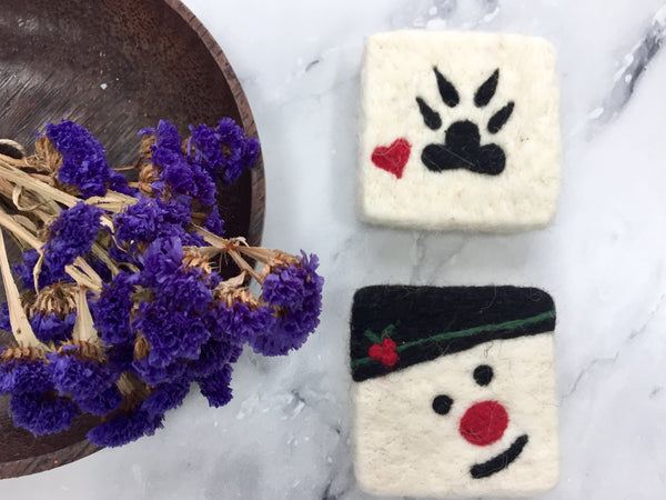 Set of 2 Snowman&Paw Felt Soap, Needle Felted Bar Soap, Handmade Felted Wool Soap Scrub, Natural Exfoliate Soap, Beauty Gifts
