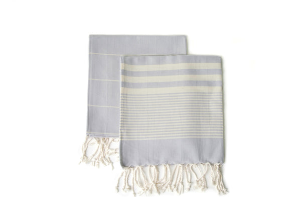 Set of 2, Handloomed Peshkir/Tea Towel/Dish Towel, Grey Blue - AHENQUE