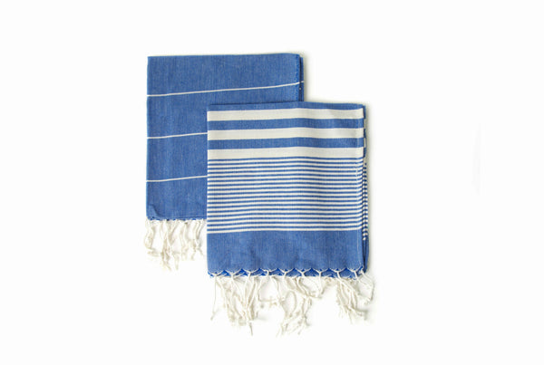 Set of 2, Handloomed Peshkir/Tea Towel/Dish Towel, Jean Blue - AHENQUE