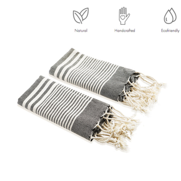 Hand-Loomed Lightweight&Durable&Absorbent  Cotton Turkish Tea Towel, Striped Black&Cream Color Hand/Face/Hair Towel, Turkish Cotton Tea Towel, Dish Towels With Fringe - AHENQUE