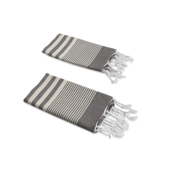 Set of 2, Handloomed Peshkir/Tea Towel/Dish Towel, Dark Grey - AHENQUE