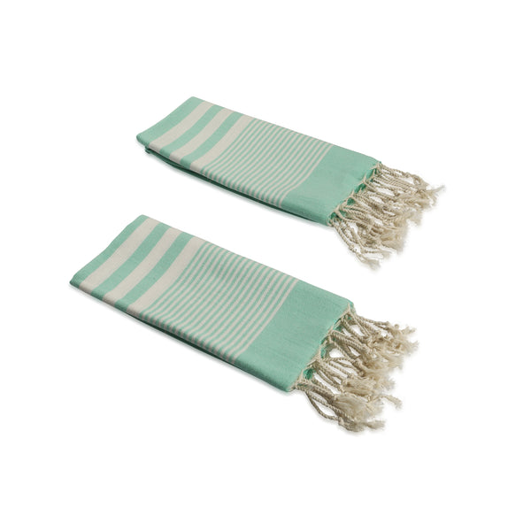 Set of 2, Handloomed Peshkir/Tea Towel/Dish Towel, Mint Green - AHENQUE