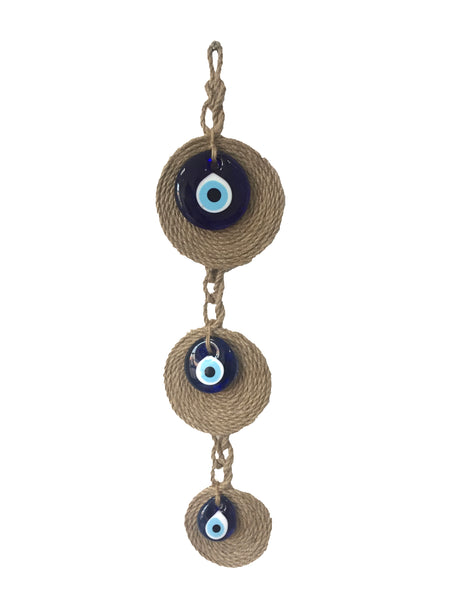 Triple Blue Evil Eye Wall Hanging with Jute Rope Background, Lucky Charm Home Decor Glass Charm, Housewarming Gift, Home Decor, Gift for Mom, Gift for Newborn Baby Room - AHENQUE