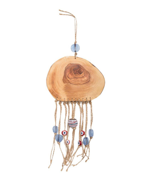 Wood Wall Hanging with Evil Eye Beads (Blue Beads) 1 /Round Wood Wall Talisman - AHENQUE