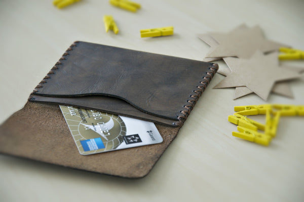 Pocket Slim Wallet, Handmade Leather Wallet, Mens Leather Wallet, Personalized Leather Wallet - AHENQUE