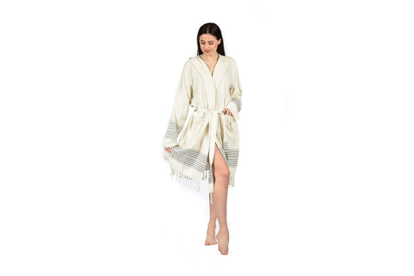 Off-White cream black woman Linen Bathrobe with Hood, Hand-Loomed, Eco-friendly Turkish Bathrobe, Natural Look Linen Bathrobe striped cream navy