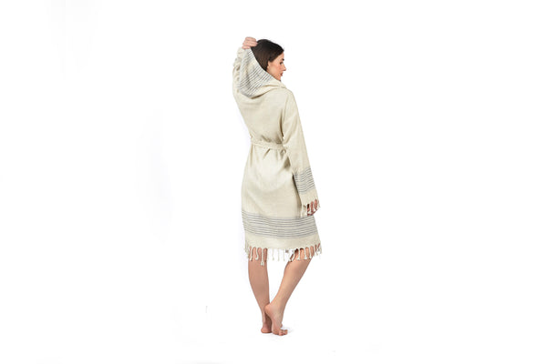 Off-White cream woman Linen Bathrobe with Hood, Hand-Loomed, Eco-friendly Turkish Bathrobe, Natural Look Linen Bathrobe striped cream navy