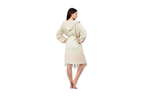 Off-White Linen Bathrobe with Hood, Hand-Loomed, Eco-friendly Turkish Bathrobe, Natural Look Linen Bathrobe striped cream pink woman