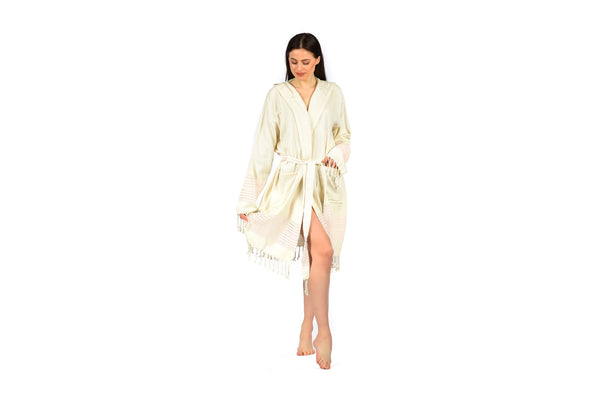 Off-White cream pink woman Linen Bathrobe with Hood, Hand-Loomed, Eco-friendly Turkish Bathrobe, Natural Look Linen Bathrobe striped cream