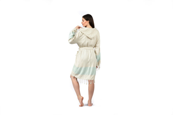 Off-White Linen Bathrobe with Hood, Hand-Loomed, Eco-friendly Turkish Bathrobe, Natural Look Linen Bathrobe striped cream turquoise blue