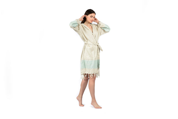 Off-White Linen Bathrobe with Hood, Hand-Loomed, Eco-friendly Turkish Bathrobe, Natural Look Linen Bathrobe striped with colors turquoise blue