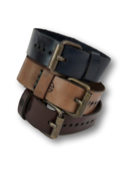 Set of 3, Leather Buckle Bracelet, %100 Leather Wristband, Buckle Wristband, Narrow Cuff Bracelets, Adjustable Belt Buckle