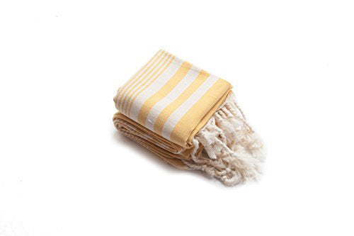 Set of 2, Hand-Loomed Peshkir/Tea Towel, Yellow-Orange - AHENQUE
