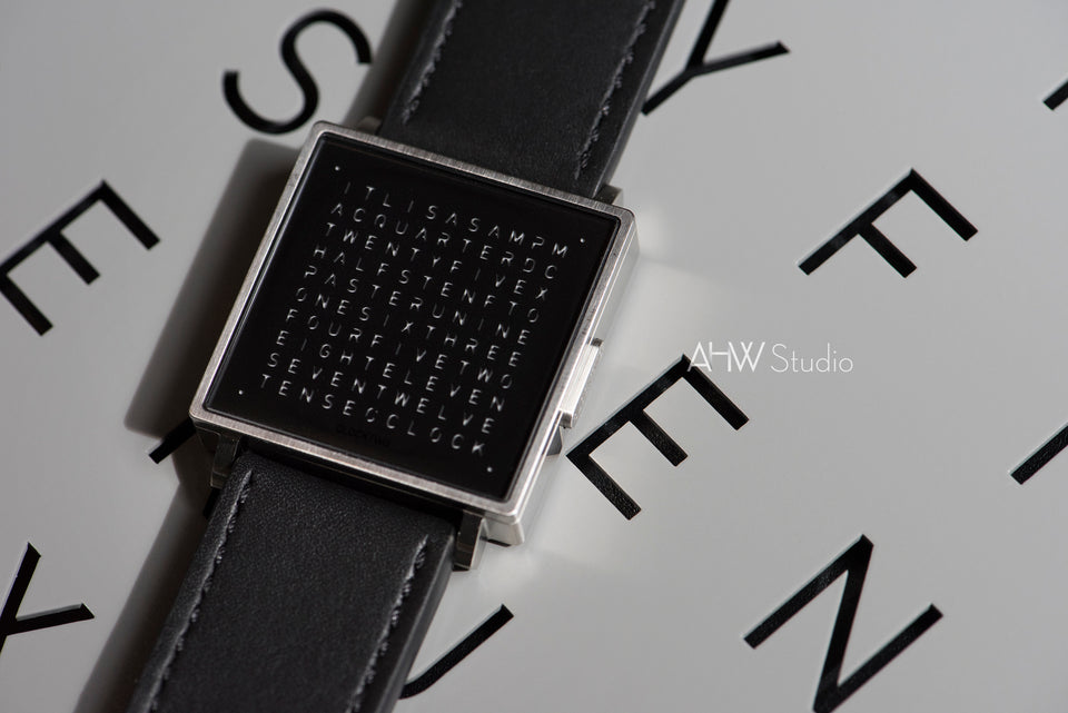QlockTwo - 35mm - Brushed Steel - AHW Studio