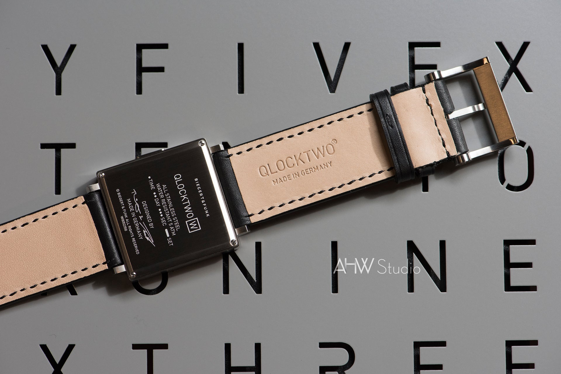 QLOCKTWO - 35mm - 'Brushed Steel' Wristwatch