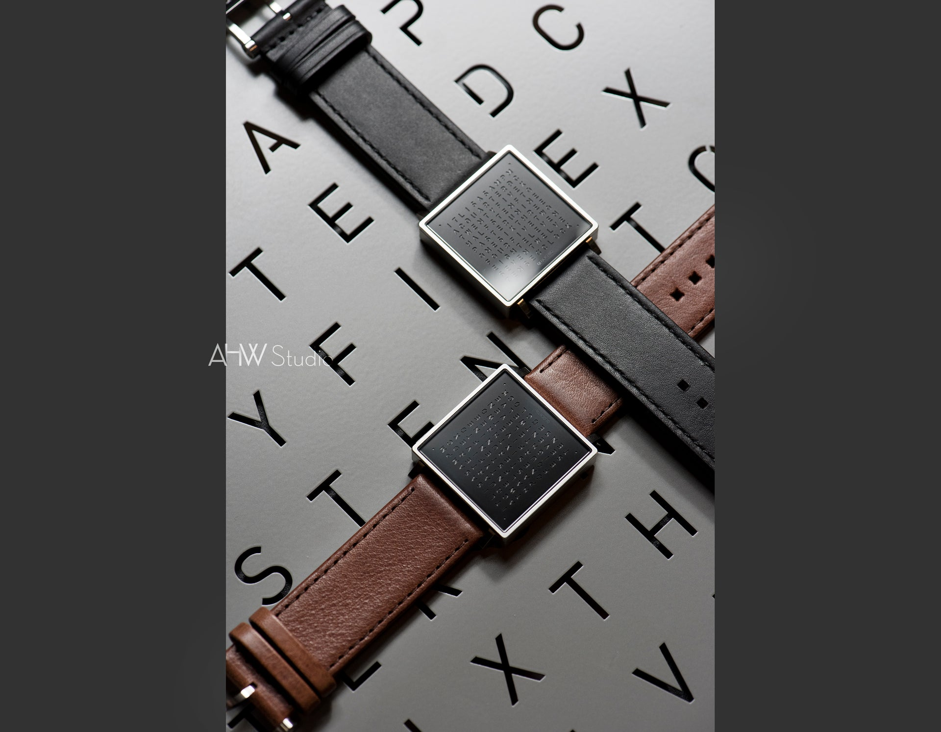 QLOCKTWO - 35mm - 'Brushed Steel' Wristwatch - AHW Studio