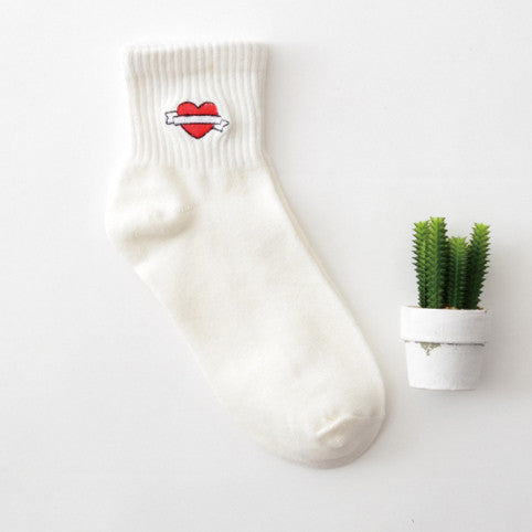 Embroidered Cotton Socks