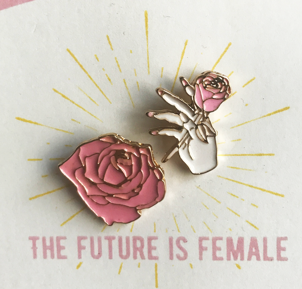 The Future is Female | Pink Roses Pin Set