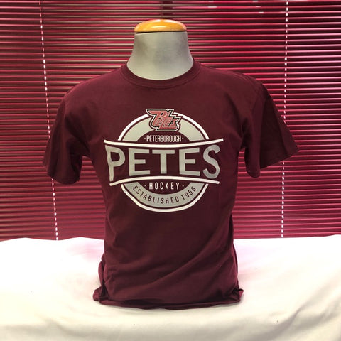 Youth Maroon with Grey Script T-Shirt
