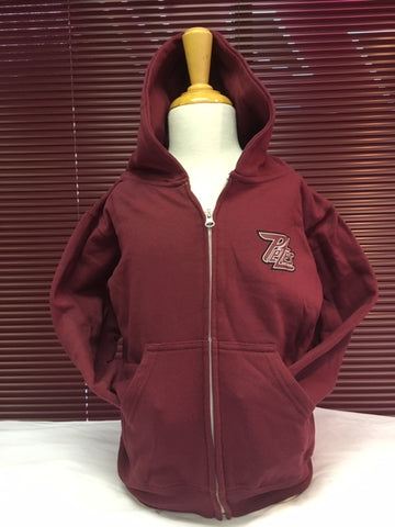 Youth Maroon Zippered Hoodie