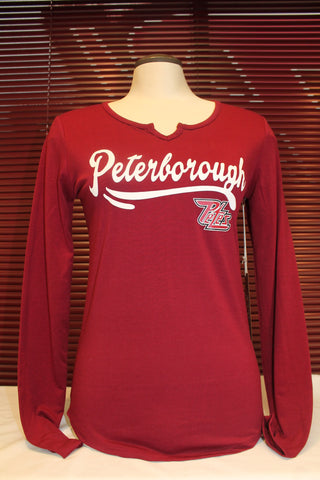 Long Sleeve Ladies Maroon T-Shirt