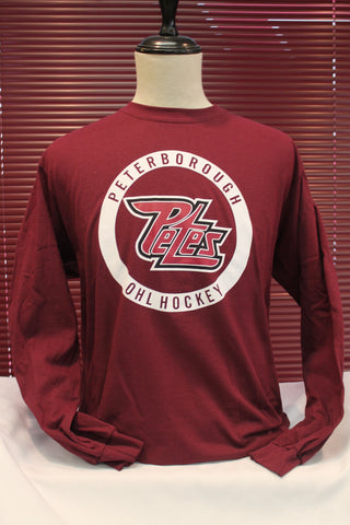 Long Sleeve Maroon Circle Logo T-Shirt