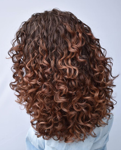 Balayage Curly Hair Wavy Red
