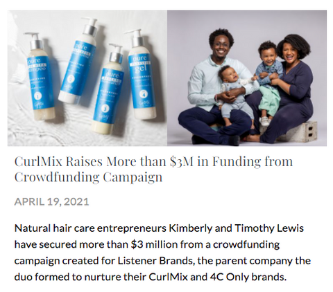 Cosmetic Executive Women Equity Crowdfund CurlMix CurlMix