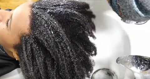 CurlMix Long Curly Hair in Wash Bowl