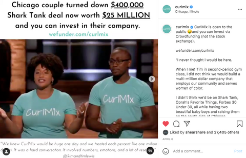 Viral Instagram Post CurlMix Equity Crowdfund