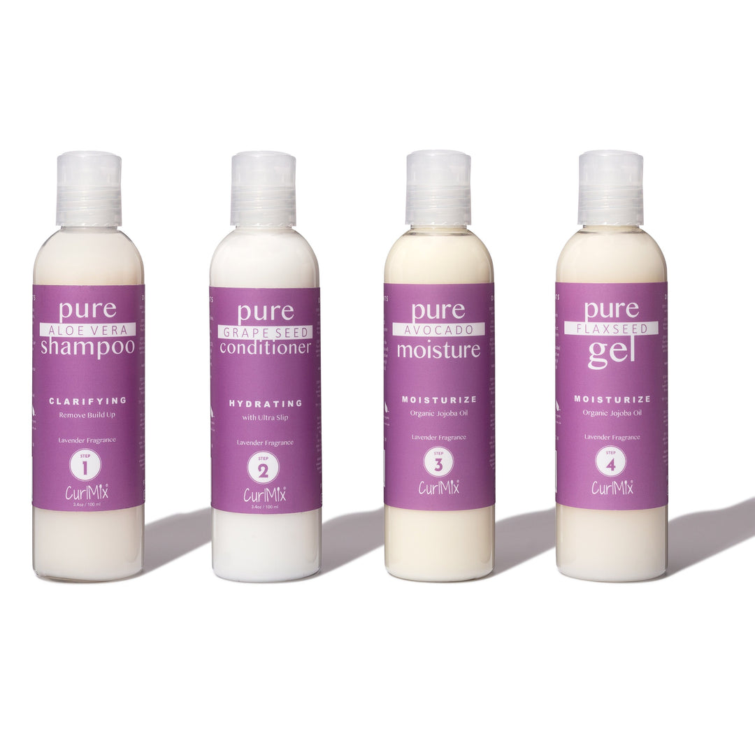 Sample Lavender Wash + Go System with Organic Jojoba Oil for Moisturizing Hair (Step 1 - 4)