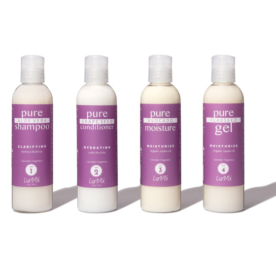 Sample Lavender Wash + Go System with Organic Jojoba Oil for Moisturizing Hair (Step 1 - 4) - CurlMix