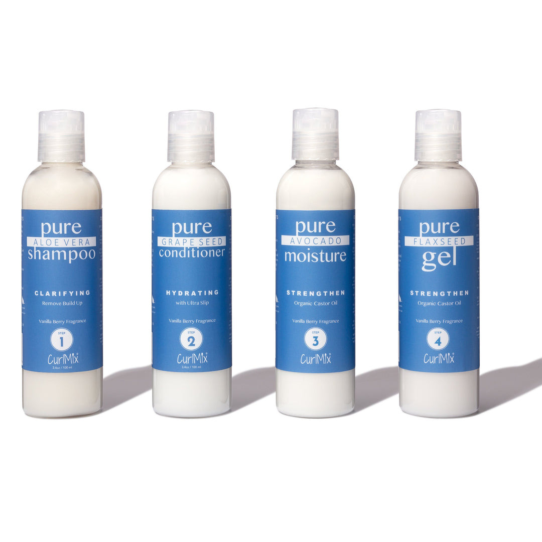 Sample Vanilla Berry Wash + Go System with Organic Castor Oil for Strengthening Hair (Step 1 - 4)