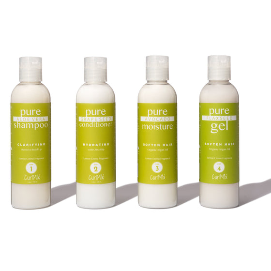 Sample Lemon Creme Wash + Go System with Organic Argan Oil for Softening Hair (Step 1 - 4) - CurlMix