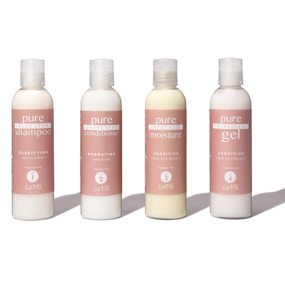Sample Fragrance Free Wash + Go System with Organic Sweet Almond Oil for Sensitive Skin (Step 1 - 4) - CurlMix
